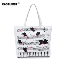 EXCELSIOR Women Lady Cartoon Cats Printing Shopper Handbag Single Shoulder Canvas Female Beach Bag Tote Purse Sac A Main bolsa
