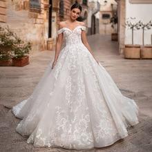 Элегантное бальное платье с открытыми плечами, свадебное платье принцессы с аппликацией и большим хвостом