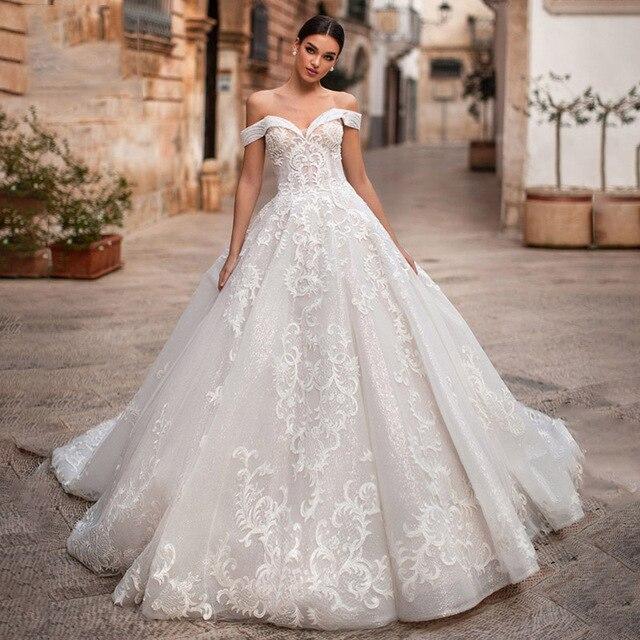 Eightree Elegant Off the Shoulder Ball Gown Sweetheart Appliques Wedding Dress Princess Vestidos De Fiesta De Noche Big Tail