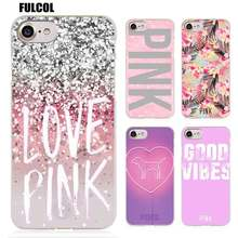 Fulcol Pink victoria secret background Transparent Patterned Hard case Cover for iphone 5s SE 6s plus 7s plus 8 Ten X(China)