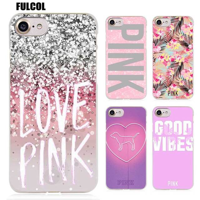 a3b38fec92f Fulcol Pink victoria secret background Transparent Patterned Hard case  Cover for iphone 5s SE 6s plus 7s plus 8 Ten X