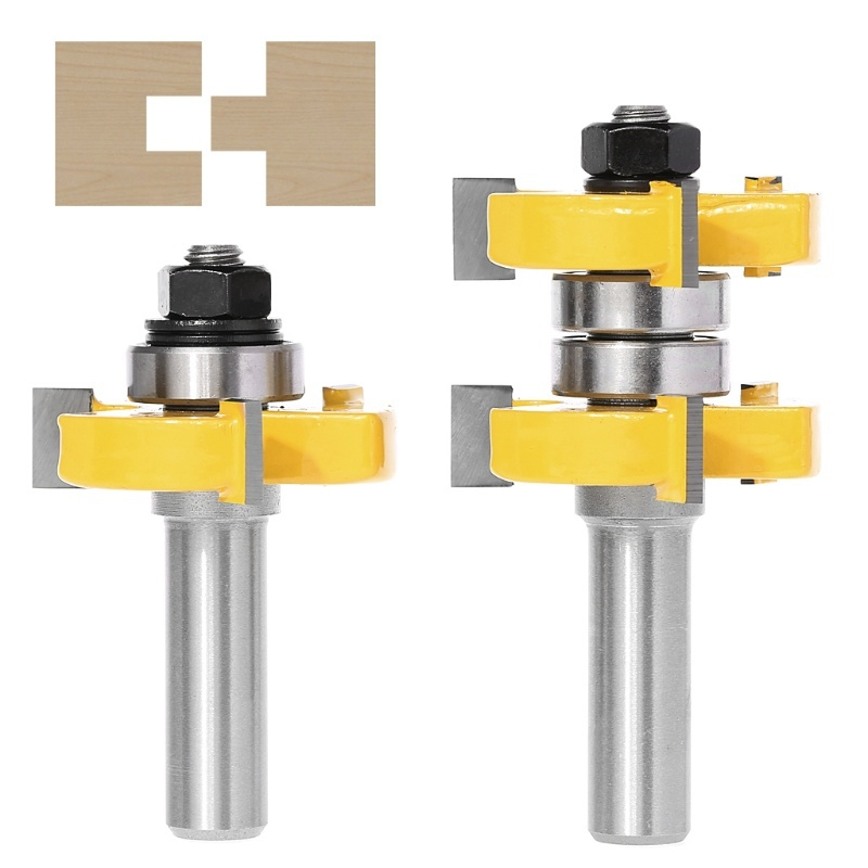 2pcs 1/2 Inch Shank Yellow High Quality Tongue Groove Joint Assembly Router Bit Set 1-1/2 Inch Stock Wood T Slot Cutting Tool