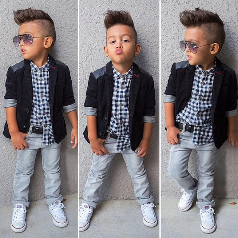 Cool Gentleman Plaid 3pcs Boys Clothes Set Children Outfits Outerwear + Shirt + Jeans Trousers Suits Spring Autumn Clothing