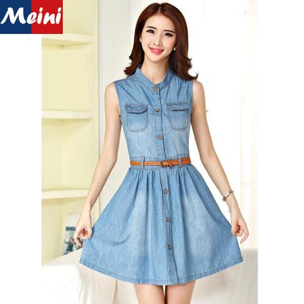 17a9ec82ab 2015 New Girls Summer Dress Sleeveless Elegant Bodycon Short Thin Jeans  Fashion Button Vintage Denim Dress Light Blue