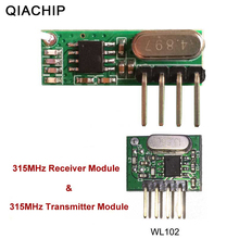 цена на QIACHIP 315mhz RF Transmitter and Receiver Superheterodyne UHF ASK Remote Control Module Kit Smart Low Power For Arduino/ARM/MCU