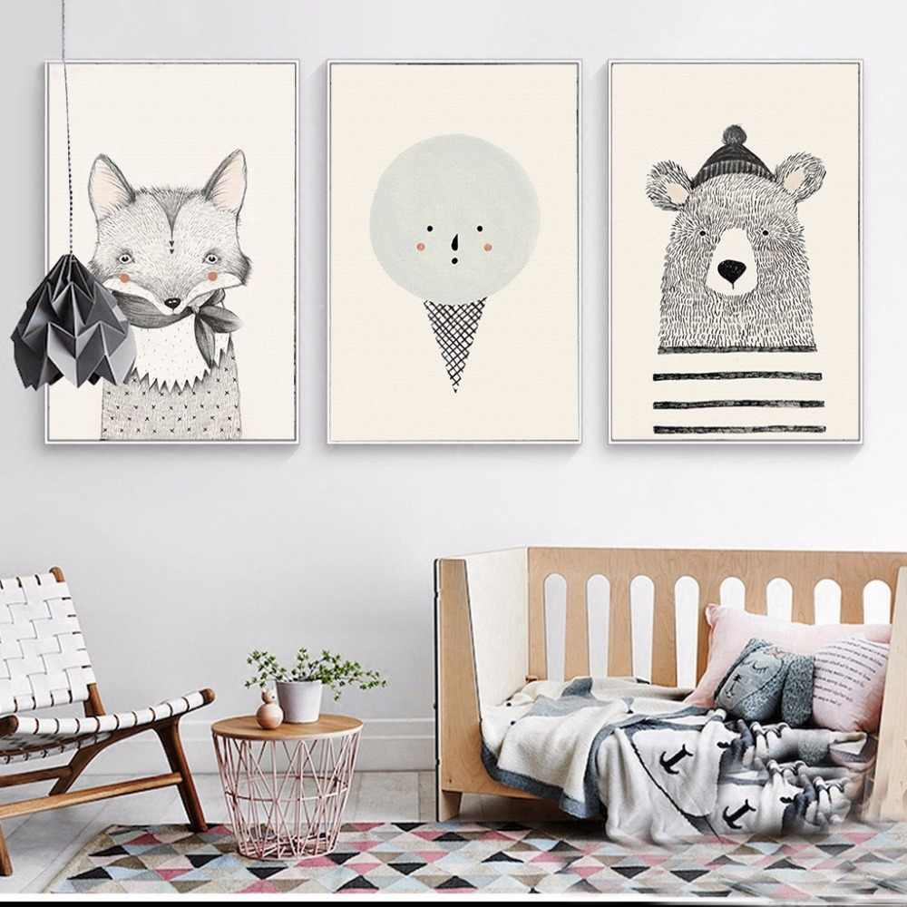 Cute Cartoon Nordic Art Bear Fox Canvas Painting Poster Animal Wall Painting Picture Print Children Baby Room Decoration