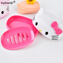 Keythemelife Hello Kitty Soap Holder Cartoon Plastic Soap Dish Plate Soap Box Bathroom Accessories plastic soap