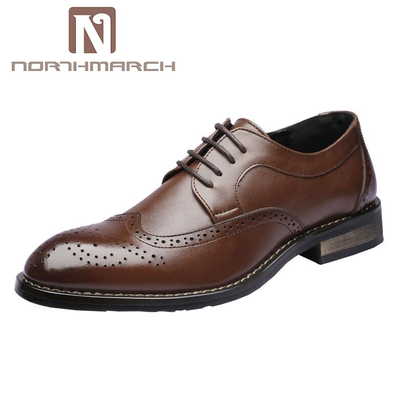 NORTHMARCH Mens Business Shoes Leather Luxury Dress Shoes Men Four Seasons Male Fashion Flats Round Toe Bullock Shoes ZapatosNORTHMARCH Mens Business Shoes Leather Luxury Dress Shoes Men Four Seasons Male Fashion Flats Round Toe Bullock Shoes Zapatos