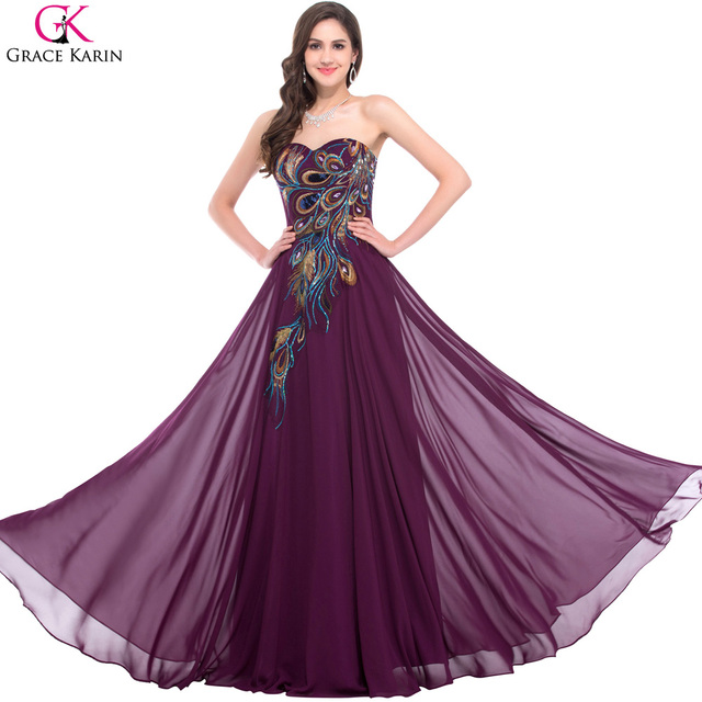 Purple Plus Size Chiffon Wedding Dresses 2017 Grace Karin A Line Sweetheart Peacock Formal Dress Elegant