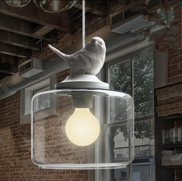 ФОТО modern lights chandeliers lamps Resin gypsum bird and glass shade pendant The study droplight LED light fixture
