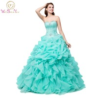 100% Real Images Quinceanera Dress for 15 years In Stock Organza Ruffled Pink Green Cheap Ball Gown Sweetheart Stones Dresses