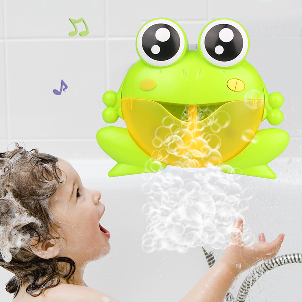 Dropship New Bubble  Machine Big Frogs Bath Toy For Children With Maker Music Bathroom Shower Pool Bathtub Swimming Kid