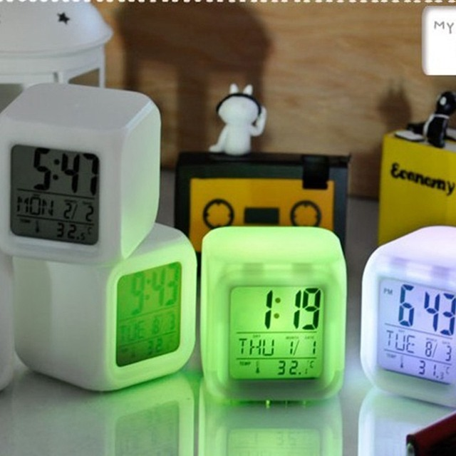 New Arrival LED 7 Color Glowing Change Digital Glowing Alarm Thermometer Clock Cube Free Shipping