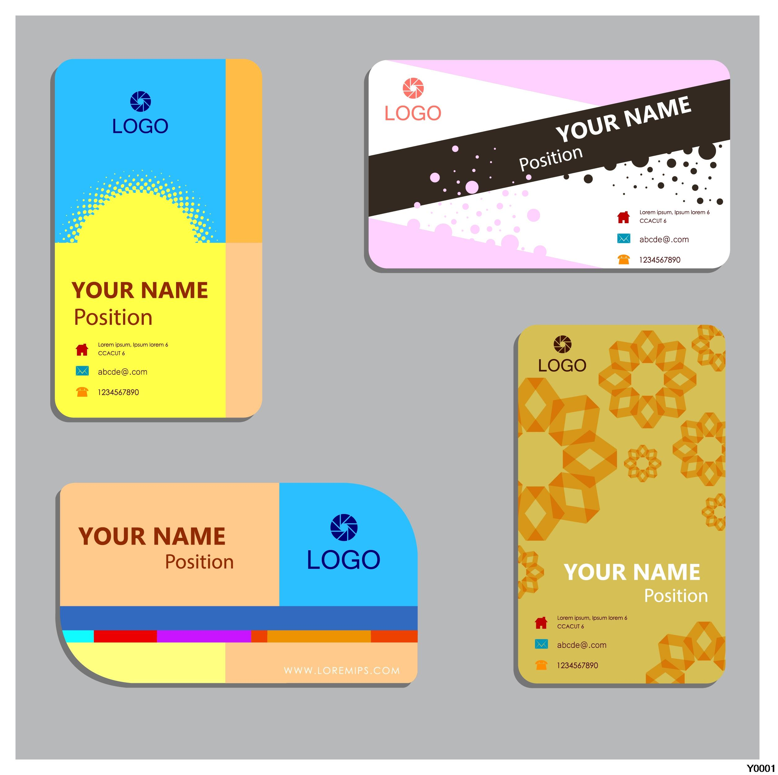 Y0048 business paper card with round corners paper card template ...