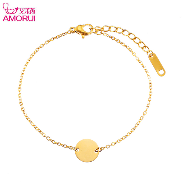 Aliexpress buy amorui big circel round disc pendant bracelet amorui big circel round disc pendant bracelet femme stainless steel rose gold gold silver bracelets for mozeypictures Images