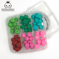 60pcs Mix Color 0 67 17mm Geometric Hexagon Silicone Bead Safe Food Grade Nursing Chewing Silicone