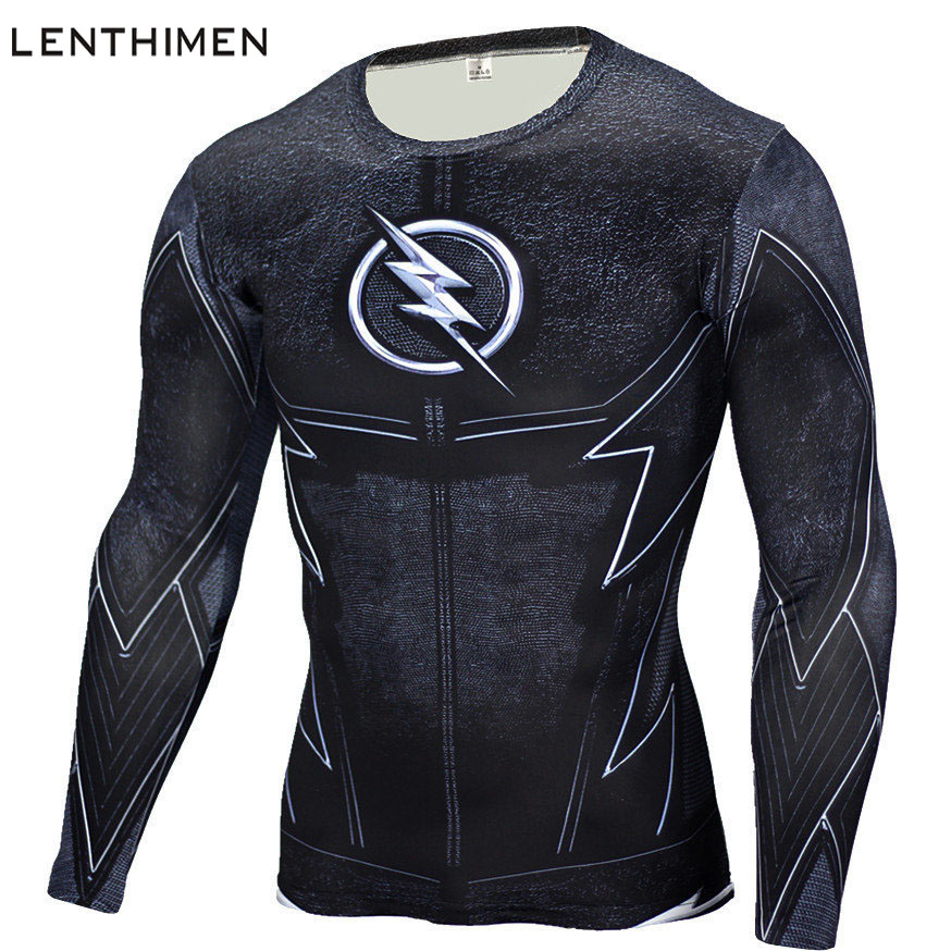 2018 Long Sleeve Sport Shirt Men Superhero 3D Compression T Shirt Quick Dry Mens Running T-shirt Gym Fitness Top Rashgard Male ...