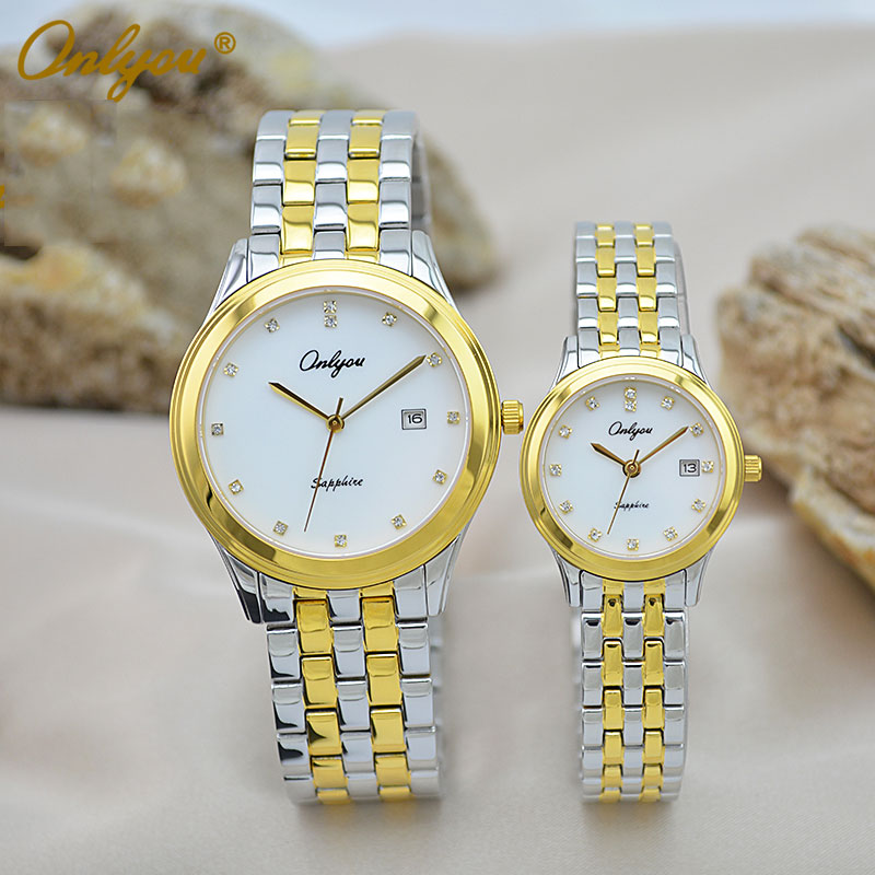 Onlyou Brand Fashion Quartz Watches Women Men Business Wrist Watch With Diamond Sapphire Crystal Mirror Ladies