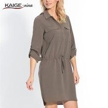KaigeNina New Fashion Hot Sale Lady Vintage Solid Loose Notched Above Knee Sashes Mini Women Dress 1195