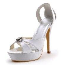 Sommer Frau Sandalen EP2121-PF Peep Toe Schnitten Plattform Ultra High Heel Schuhe Satin Hochzeit Sandalen