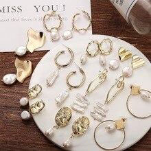 Yobest New Pearl Seal avatar Drop Earrings For Women 2019 Brincos Long Geometric Dangle Earring Gold Female Vintage Jewelry Gift