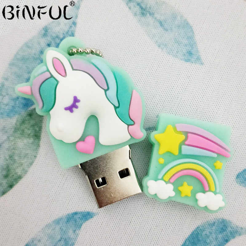 Pen Drive Unicorn USB 2.0 Memori Flash 4G 8 Gb 16 GB 32 GB 64 GB 128 GB Yang Indah USB STICK USB Flash Drive Hadiah Kreatif Flashdisk