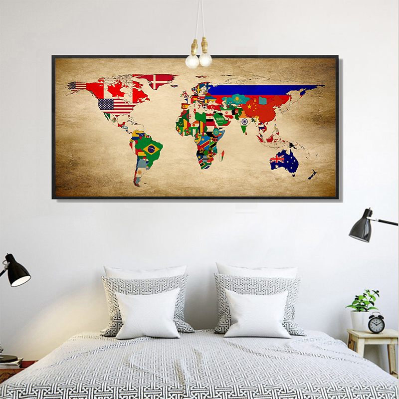Modern Minimalistic Abstract World Flag Map Canvas Drawing Art Typographic Poster Picture Bedroom Living Room Decoration OT243 in Painting Calligraphy from Home Garden