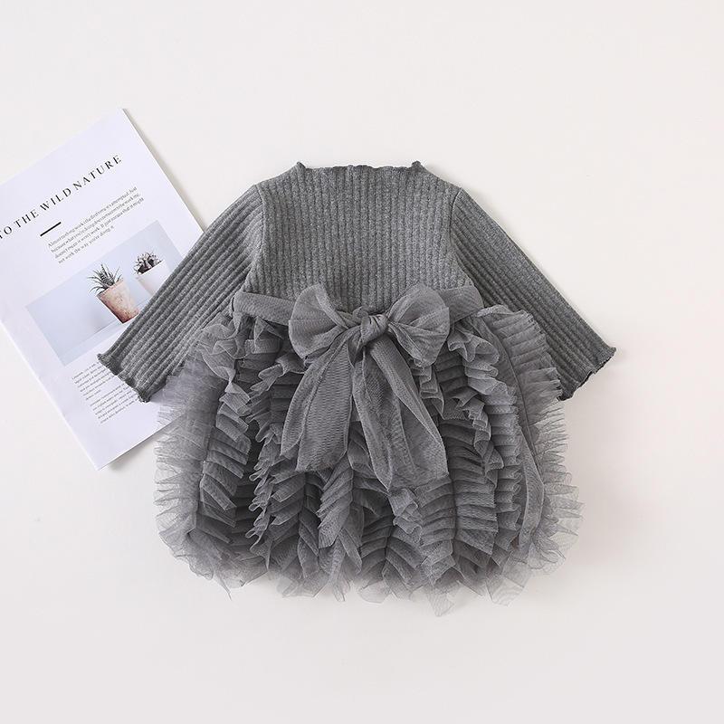 2019 Cotton Long Sleeve Knitted Kids Dresses For Girls Toddler Clothing Baby Girl Drees Tulle Patchwork Grey Pink White Spring 21