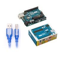 UNO R3 For Arduino MEGA328P 100 Original ATMEGA16U2 With USB Cable UNO R3 Official Box Free