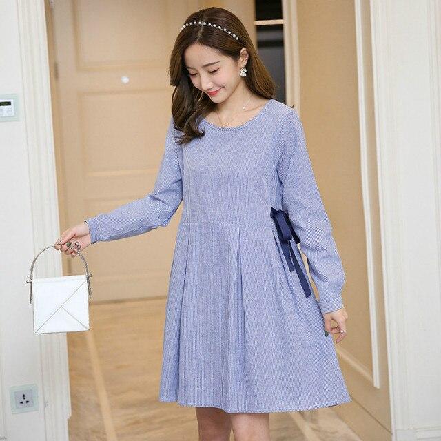 9759f0bcb 2018 primavera otoño nuevo vestido de maternidad arco Vestido de manga larga  rayado lactancia ropa para