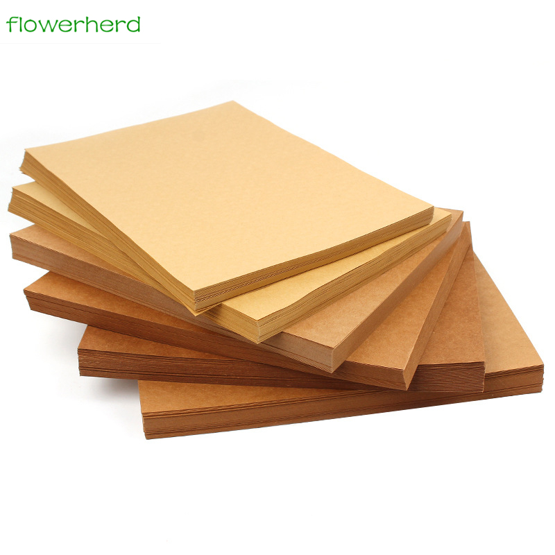 <font><b>100gsm</b></font> 100pcs A4 Brown Kraft <font><b>Paper</b></font> DIY Handmake Card Making Craft <font><b>Paper</b></font> High Quality Thick Paperboard Cardboard image