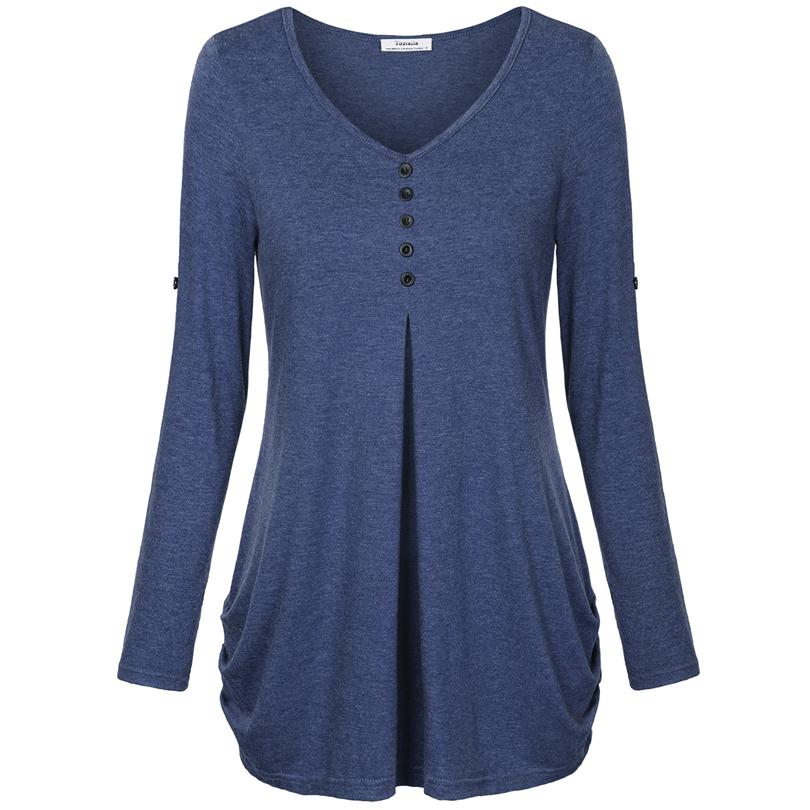 HTB1gzjiPFXXXXbxXFXXq6xXFXXXW - New Women Summer T-shirt Button Long Sleeve Female