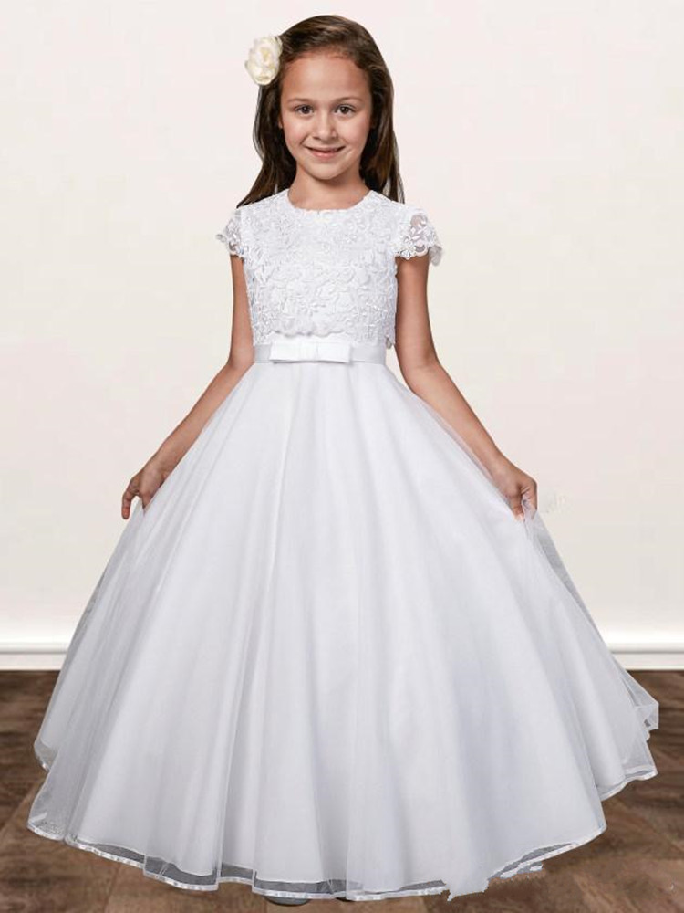 2020 New Design Pure White Tulle   Flower     Girl     Dress   With Applqiues Buttons Cap Sleeves Holy First Communion Gowns For Princess