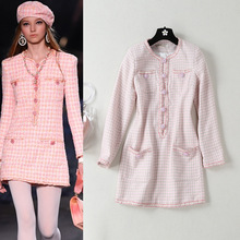 Gulinazas New Pink Fragrant and Tweed Dress for Spring 2019 O-Neck Full Plaid A-Line Party Women