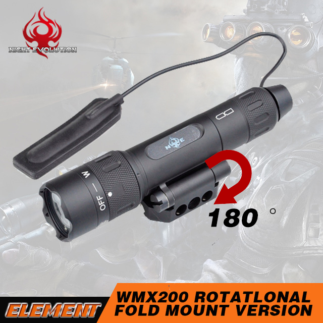 Element Tactical Flashlight WMX200 Rotational 180 Fold Mount Infrared IR Laser Light Weapon Gun Light Airsoft