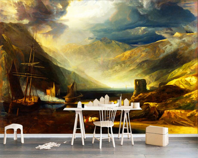 beibehang European style landscape Beach sailing mountain painting ...