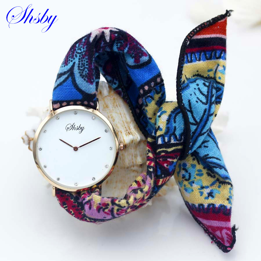 Shsby Brand new style Ladies flower cloth wristwatch