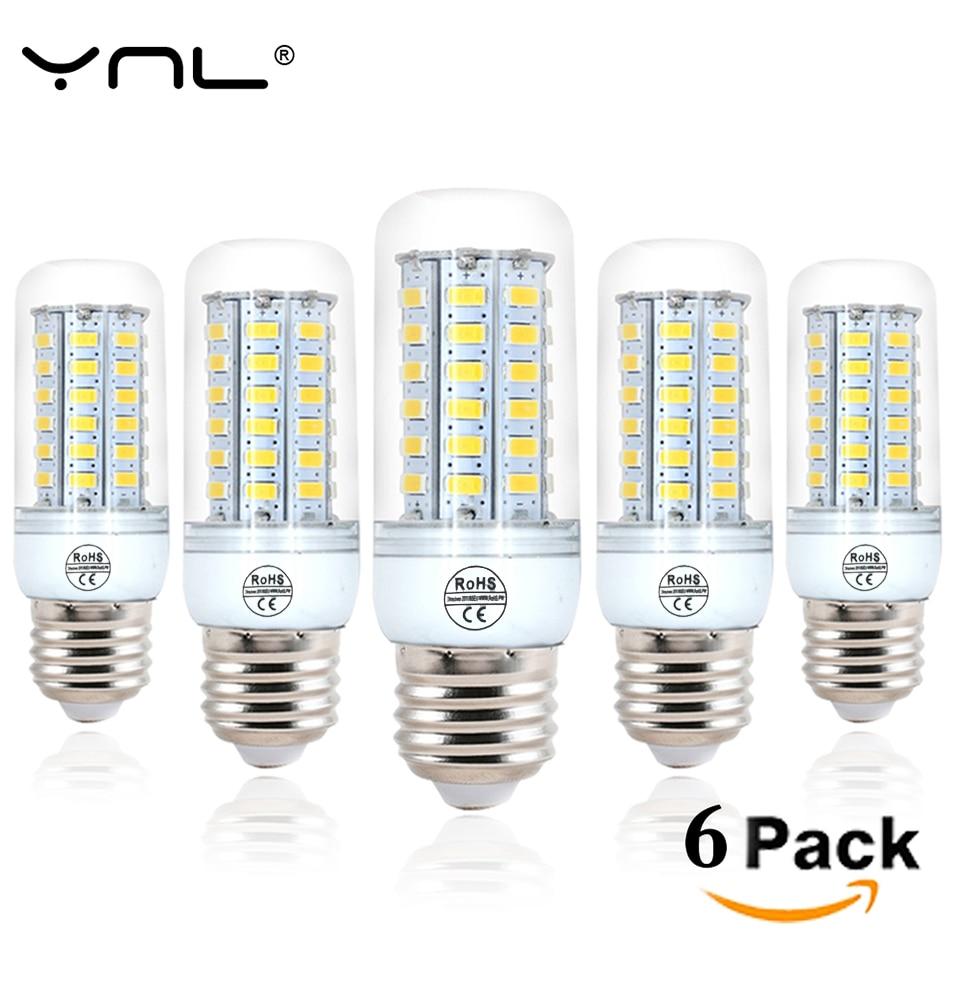 6pcs LED Lamp E27 220V 24 36 48 56 69 72 96LEDs SMD5730 Bombillas Lamparas Corn Bulb Lampada De LED Light Bulb Ampoule Lighting