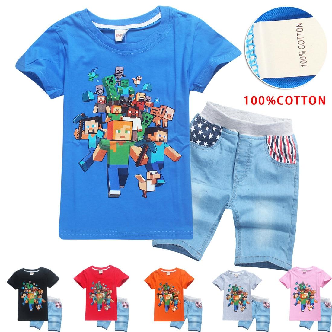 T-Shirt + Shorts Children's Sets MineCraft Kids Clothing Sets T Shirt Short Boys Kids Sports Set Cotton girl dress 100% cotton t shirt nicolo tonetto t shirt