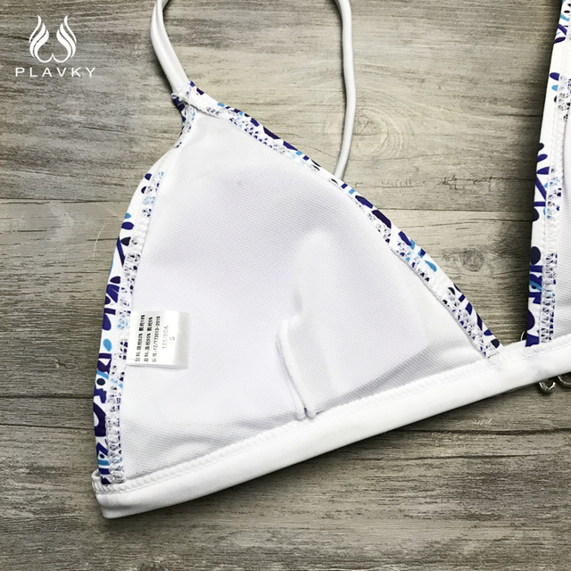 Sexy Ladies White Floral Halter Thong Bikini Swimsuit Swim Beach Wear Bathing Suit Swimwear Women Brazilian Push Up Bikini
