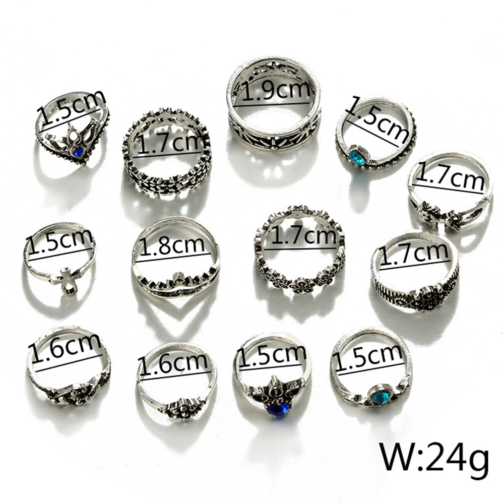 13PCS Alloy Vintage Ring Boho Retro Silver Rings Set For Women Girls Wedding Gift Ring Temperament Jewelry in Wedding Bands from Jewelry Accessories