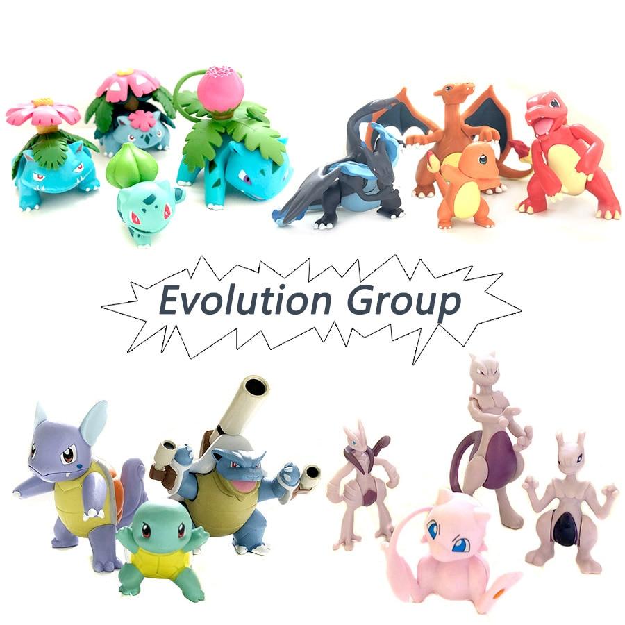 Evolution Group Charmande Charizard Blastoise Bulbasaur Venusa Anime Action Toy Figures Collection Model Toy Car Decoration Toy