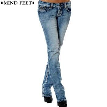 MIND FEET для женщин джинсы для Femme плюс размеры Тонкий стрейч низкая талия женский синий Винтаж прямые джинсовые штаны лифт Хип