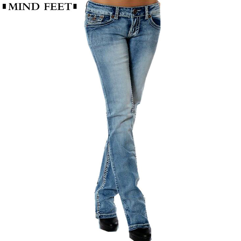 MIND FEET Women   Jeans   Femme Plus Size Slim Stretch Low Waist Female Blue Vintage Straight Denim Pants Lift Hip Ladies Trousers