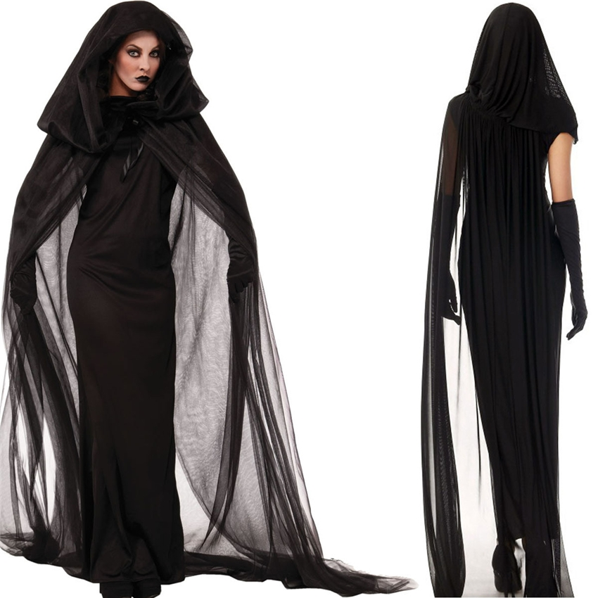 2019 Halloween Costumes Dress for Woman Vampire Zombie Cosplay Day of The Dead Veil+Gloves+Dress Medieval Witch Scary Costume