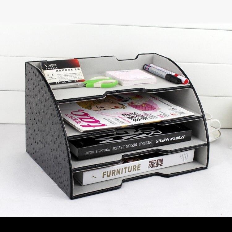 Документ лоток канцелярских товаров стойки файл стенд организации 4-слойная дуги древесины кожа office desktop file 268A ...