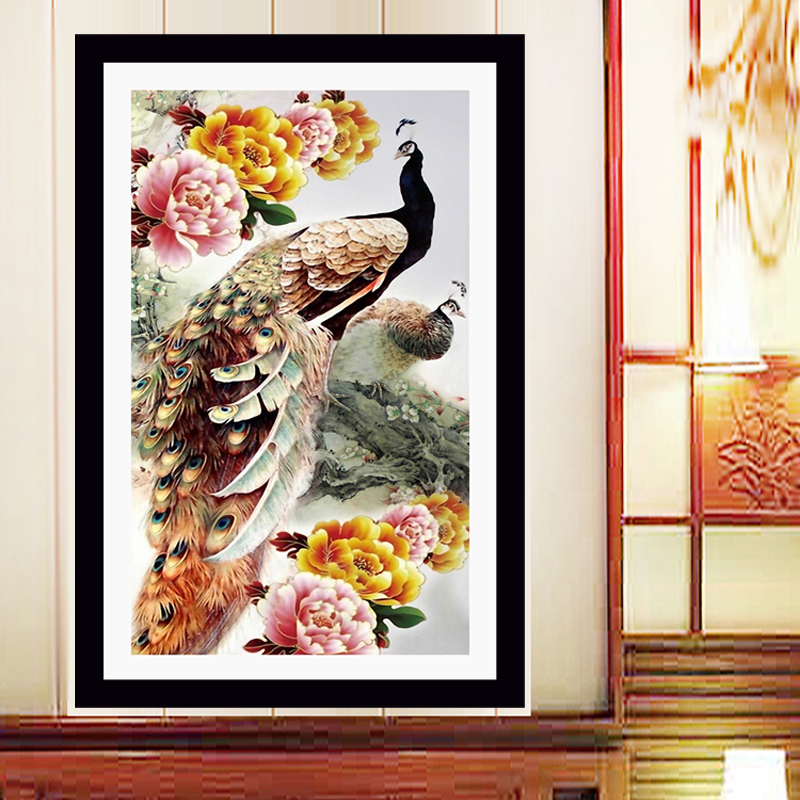 Decoratiuni interioare noi 5d Diy Diamond Pictură Cross Stitch Peacock Peony Diamond Broderie Crystal Round Diamond Mosaic Imagini