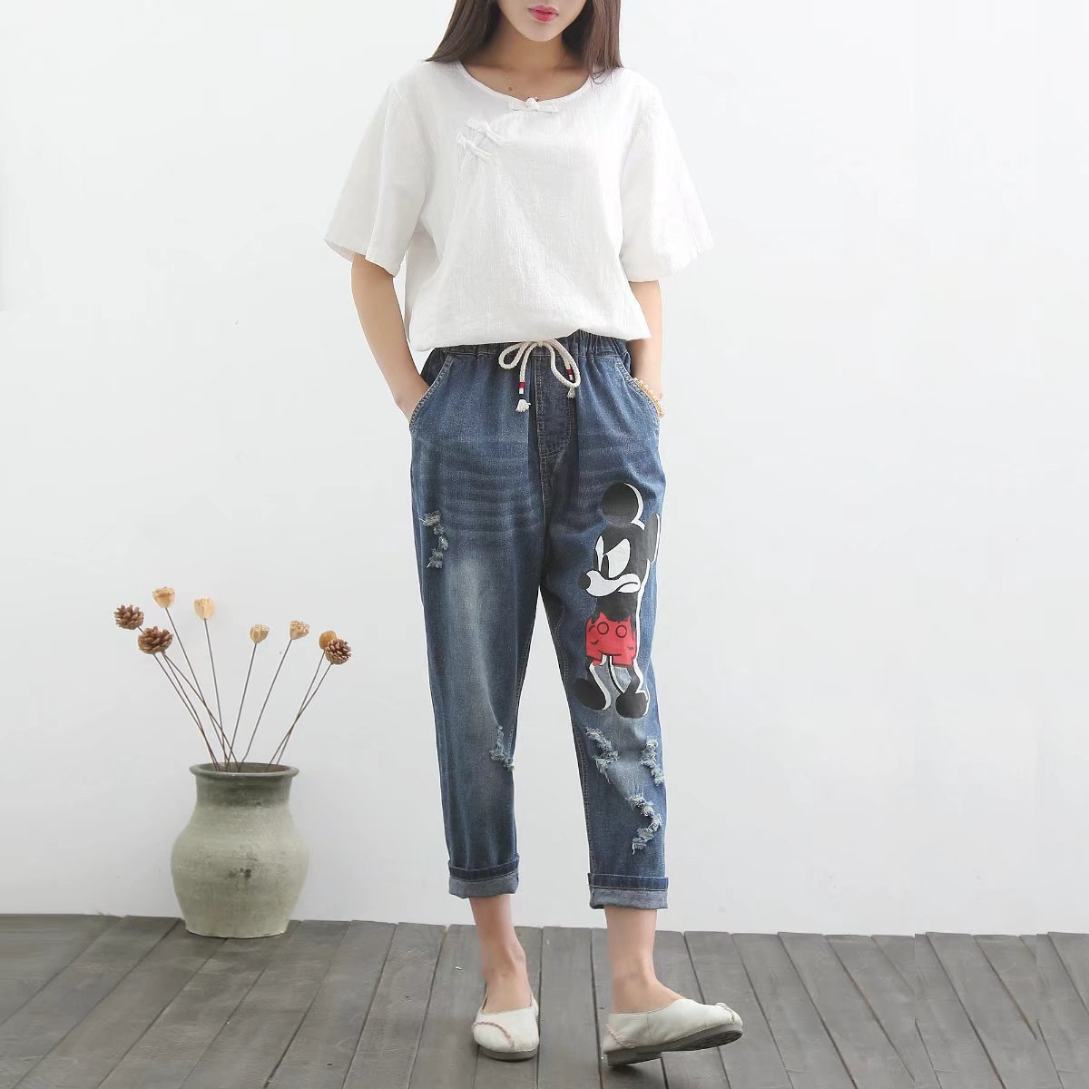 Women Spring Summer Loose Large size Jeans 2017 High Quality Slim type Denim Trousers Fashion Female
