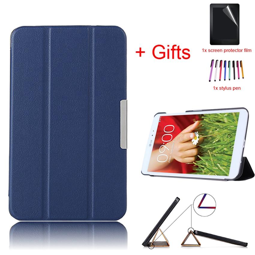 Stand Protective Cover Magnet Slim PU Leather Funda Case For LG G PAD 8.3 V500/V510 8.3inch Tablet EReader+film+Stylus