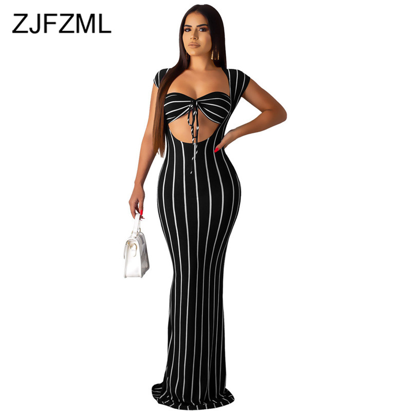 Striped Print Sexy 2 Piece Matching Set Women Clothes 2019 Strapless Bra Top And Bandage  Maxi Dress Two Piece Tracksuit Outfits